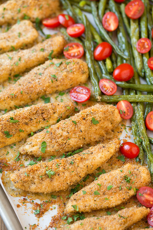 One Sheet Pan Roasted Garlic-Parmesan Chicken Tenders and Green Beans with Fresh Grape Tomatoes