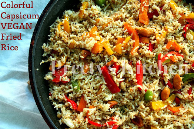 Colorful Capsicum Vegan Fried Rice / Shimla Mirch Wala Pulao ( Step By Step Pictures)