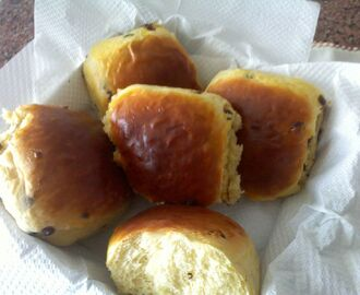 Brioches com pepitas de chocolate