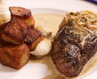 Steak Diane with sauté potatoes