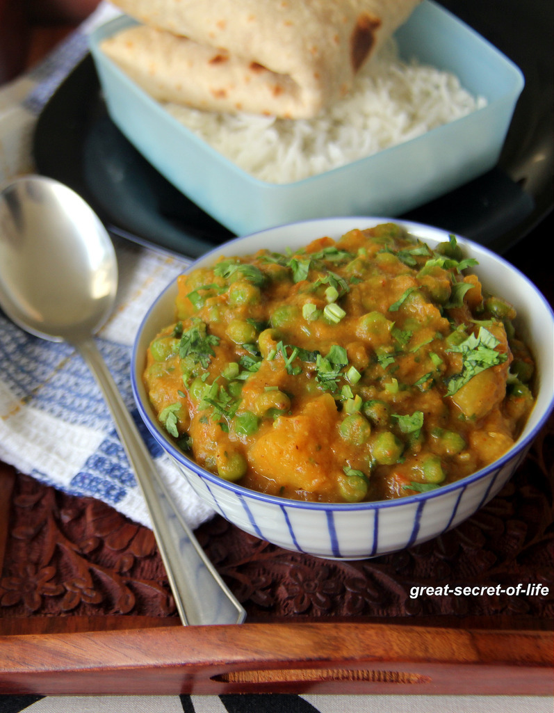 Aloo Mutter - Potato Peas - Vegan gravy for rice, roti - Vegetarian gravy for rice, roti, chapathi, Naan