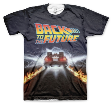 Delorean Fire Tracks Allover T-Shirt, Modern Fit Polyester Tee