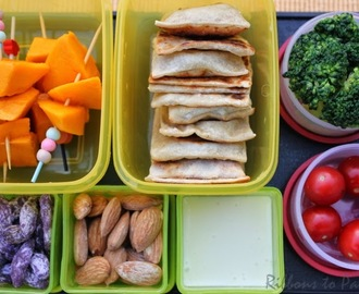 Mini Cheese Parathas with Cheese Dip for Kids Lunch Box