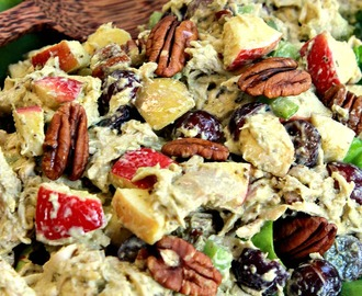 Creamy Pesto Chicken Salad with Apples and Pecans