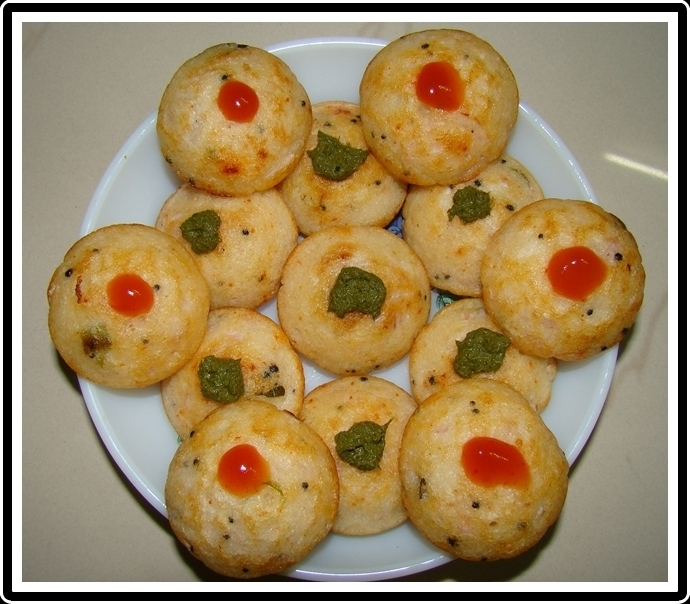 Rice Appe--  South Indian snack made from dosa/idli batter..