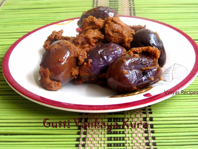 Masala Gutti Vankaya Kura - (Andhra Style) - Spicy Stuffed Brinjal Curry - With Step Wise Pictures