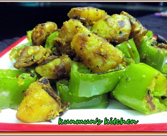 Besan wali Mirchi Aloo Bhaji [Banana Peppers-Potato Fry with Gram Flour]