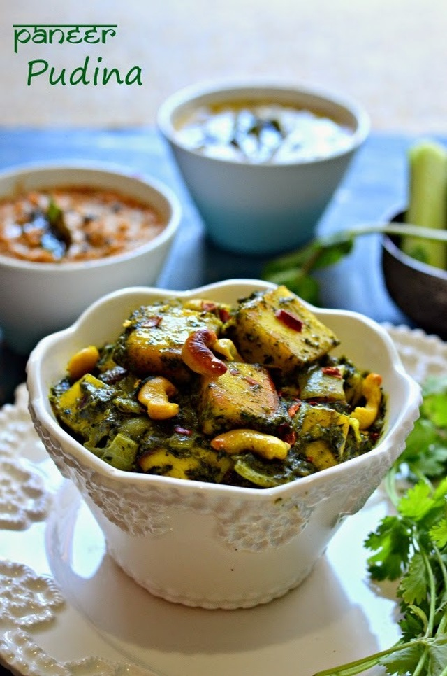 Paneer Pudina :: Paneer with mint and spinach  :: Cottage cheese in Mint gravy