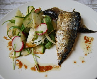 Roast mackerel with fennel salad and fig dressing...