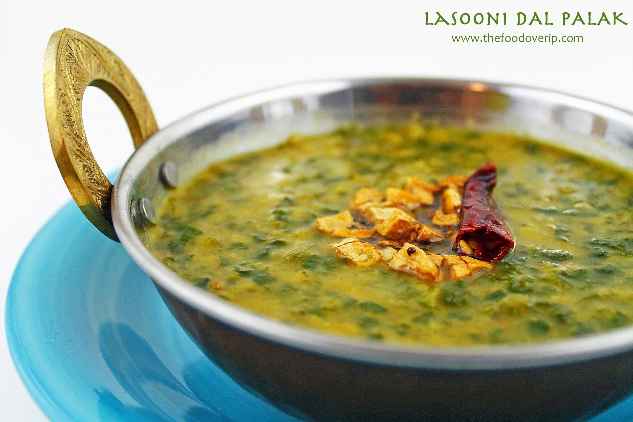 Lasooni Palak Dal \ Garlic flavored Lentils with Spinach
