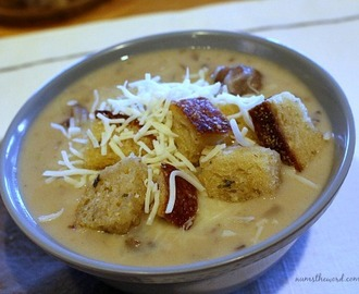 Creamy Cheesesteak Soup with Garlic Croutons