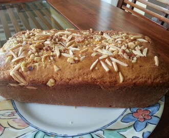 Simply delicious- Eggless  Sponge Cake studded with Almonds and Walnuts!