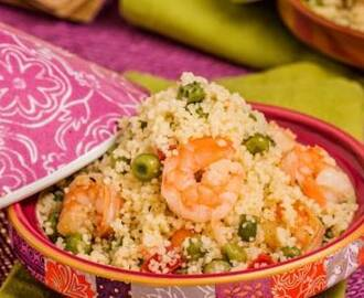 Couscous con gamberi e piselli in agrodolce