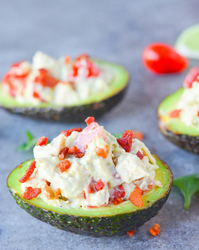 5 Minute Chicken Club Stuffed Avocados