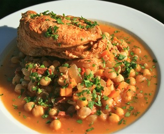 First Birthday of this Blog Today and Catalan Chicken with Chickpeas to Celebrate!