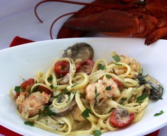 Lobster Linguine with Cognac Cream Sauce