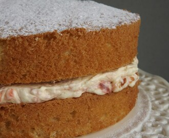 Classic Victoria Sponge with Rhubarb and Custard