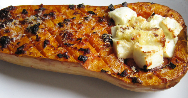 Spicy Stuffed and Roasted Butternut Squash