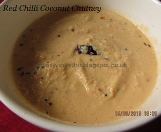 Red Chilli Coconut Chutney/Thengai Chutney with Vara Milagai [Side dish for Idlis, dosas, paniyarams & bondas]