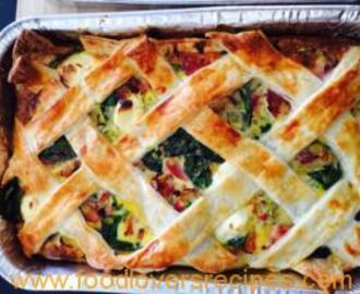BACON AND EGG PIE WITH VEGETABLES