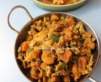 Chettinad Eral Vazhakkai Muttai Poriyal / Prawn Raw banana Egg Fry