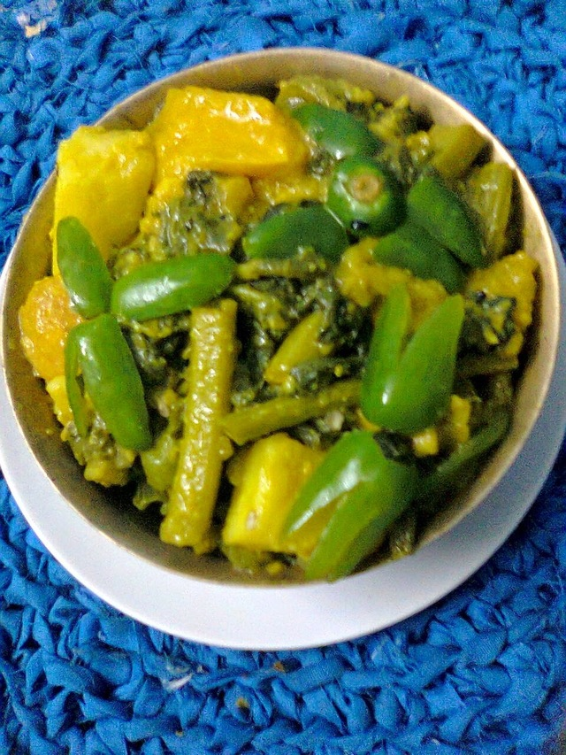 Veg. Curry With Stems,Leaves Of Bottle Gourd/Lau Shak Curry