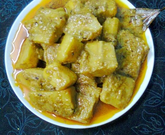 Healthy Veg. Side Dish Recipe  -  Raw Banana (Kacha Kola) Curry.