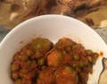 Things to do with Brussels sprouts -curry! With peas and popadoms too…
