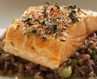 Slow roast salmon with red wine barley risotto recipe