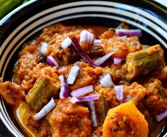 Aloo~Bhindi Masala Gravy | Potato~Okra Gravy for Chapathi