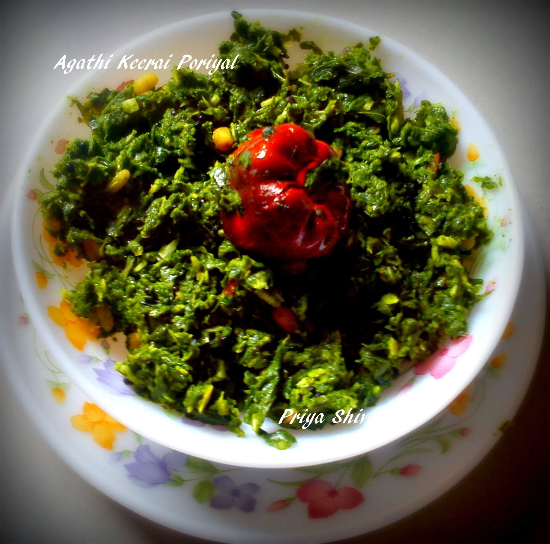 Agathi Keerai Poriyal / Hummingbird Tree Leaves Curry