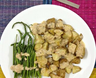 Oven Roasted Asparagus & Potatoes with PeanutButter & Buttermilk Dressing
