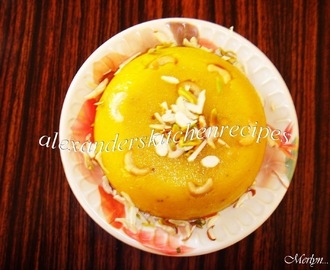 PINEAPPLE FLAVOURED KESARI / PINEAPPLE FLAVOURED SEMOLINA PUDDING ( This recipe is dedicated to my friend Cholena )