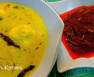 Braised Egg in Toor Dal (Telur Masak Lemak Dal) & Stir Fried Chilli Paste with Anchovies (Sambal Tumis Ikan Bilis)