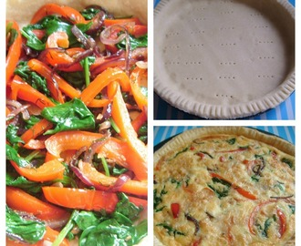 Spinach, Red Pepper and Goat's Cheese Quiche