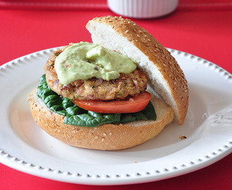 Mexican Bean Burger with Avocado Sour Cream Sauce