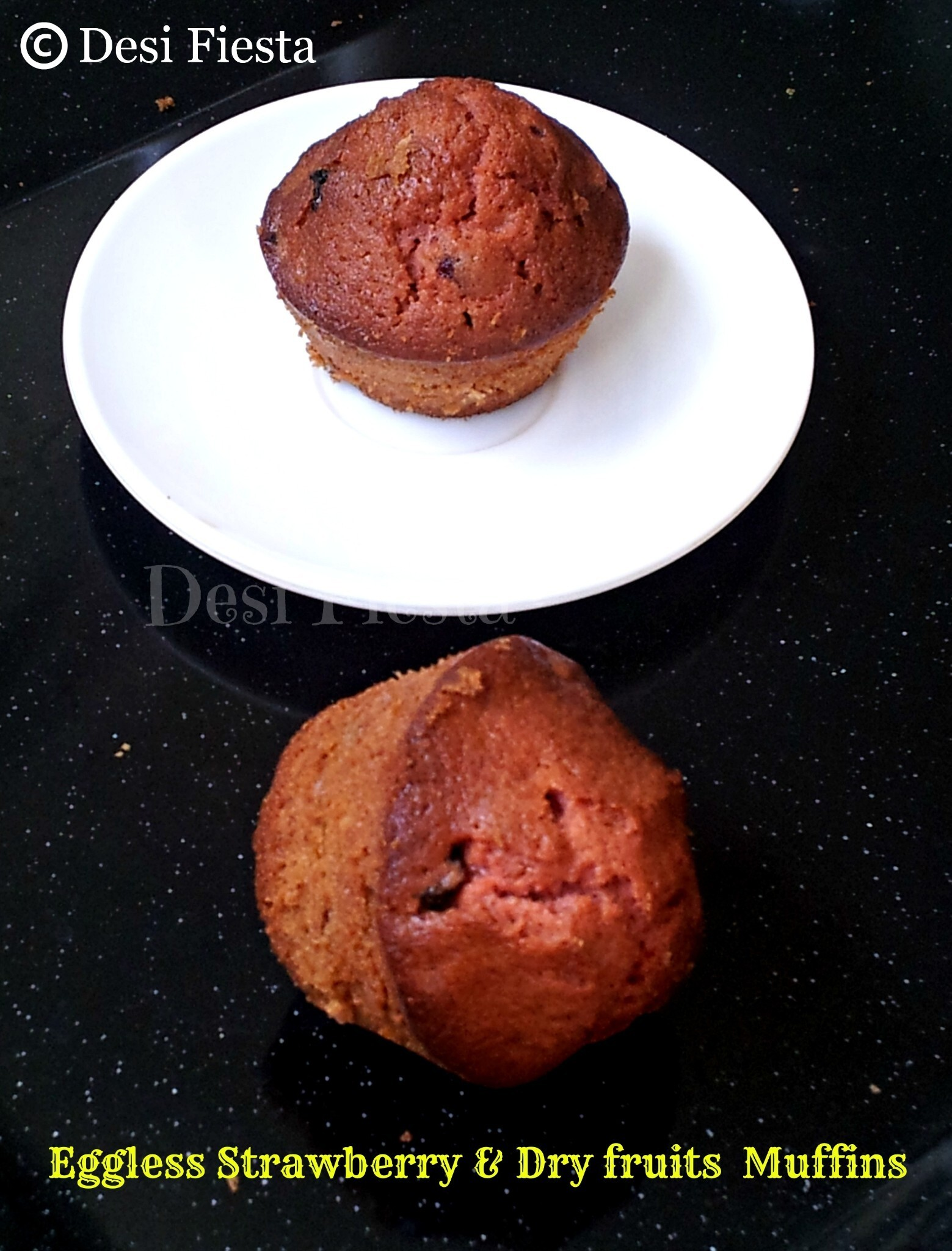 Eggless strawberry & dry fruits muffins (Come on - Let cook buddies) Entry 61