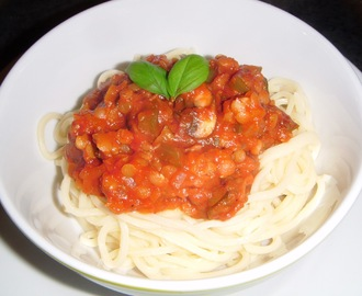 Two meals in one - Lentil & Vegetable Spaghetti Bolognese plus Vegetarian Chilli