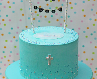 Blue Buttercream Christening Cake