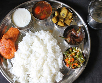 Lunch Menu 1 - Ginger Rasam, Yam Poriyal, Carrot Beans Thoran, Chilli Tamarind Pickle & Vazhakkai Bajji