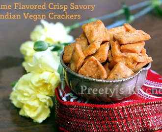 Til Wali Mathris / Sesame Flavored Crisp Savory Indian Vegan Crackers /Diwali Snack