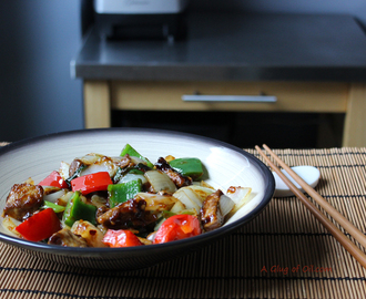 Vegetarian Chinese-style Spicy Beef and Peppers made with Quorn
