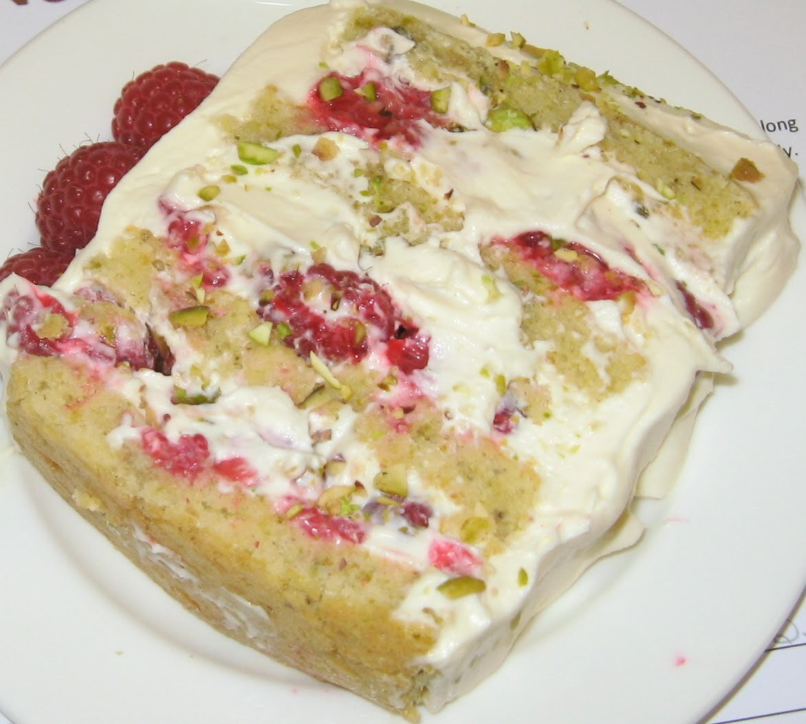 Nom Nom Nom - White Chocolate and Pistachio Cake with Raspberry Mascarpone Cream