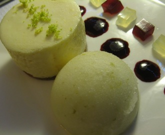 L is for... Lebkuchen-based lemon mousse served with lime sorbet, loganberry jelly, Limoncello jelly and loganberry coulis