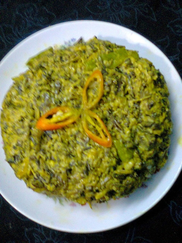Veg. Curry Of Banana Flower With Mustard Seeds/Mocha Paturi