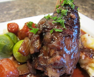 Lamb shanks braised in red wine - recipe