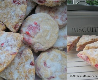 A Christmas biscuit tin - frosty cherry shortbread recipe
