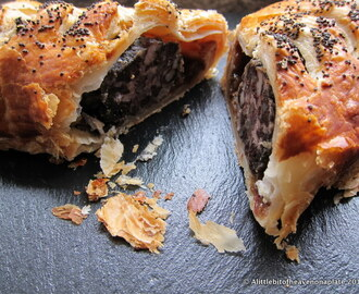Black pudding, pork and chutney sausage rolls - random recipe