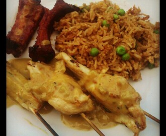 Chicken satay, spare ribs & fried rice.