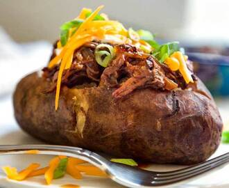 Slow Cooker BBQ Beef Stuffed Potatoes